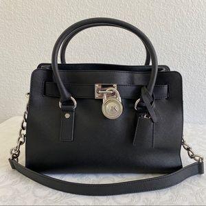 Michael Kors black Saffiano Hamilton bag